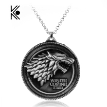 Game Of Thrones House Of Stark Wolf Alloy Pendant Necklace With High Quality Gifts For Fans Movie Jewelry Factory Direct Sale