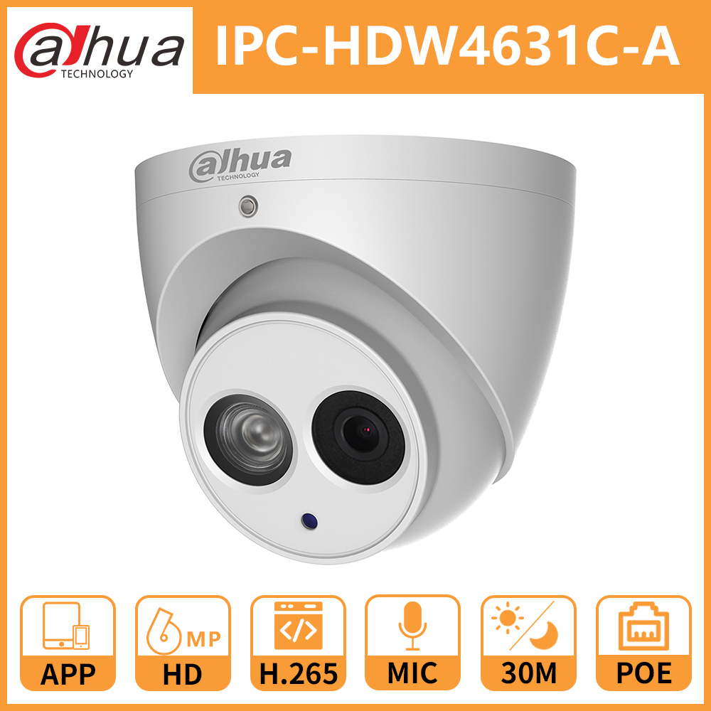 Dahua CCTV IP Camera DH IPC HDW4631C A Built In Mic POE dome Security Camera IR30M Metal shell Onvif replace IPC HDW4431C A-in Surveillance Cameras from Security & Protection