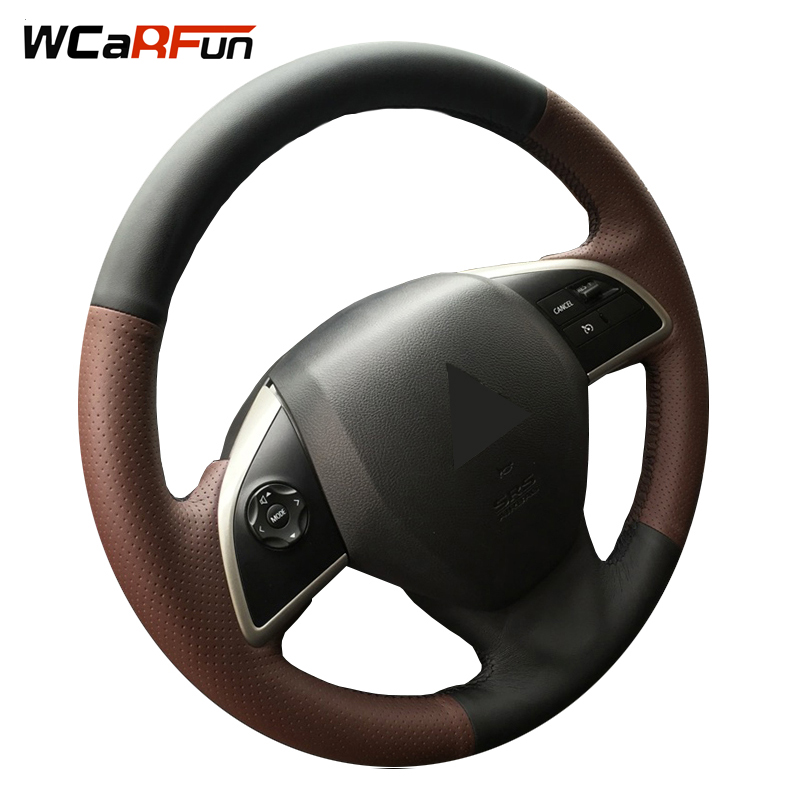 WCaRFun DIY Name Hand-stitched Genuine Leather Auto Car Steering Wheel Cover for Mitsubishi Outlander 2013 2014 Mirage 2014 ASX
