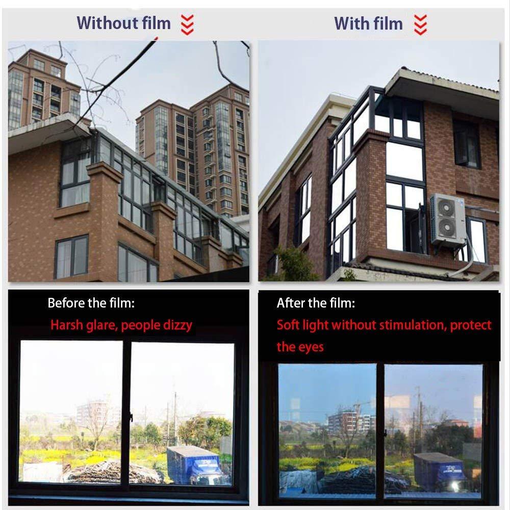PET Une Façon Miroir Explosion Preuve Auto-Adhésif Fenêtre Film Protéger La Vie Privée Teinte Fenêtre En Verre Autocollant Argent Film 1.52 m x 10 m