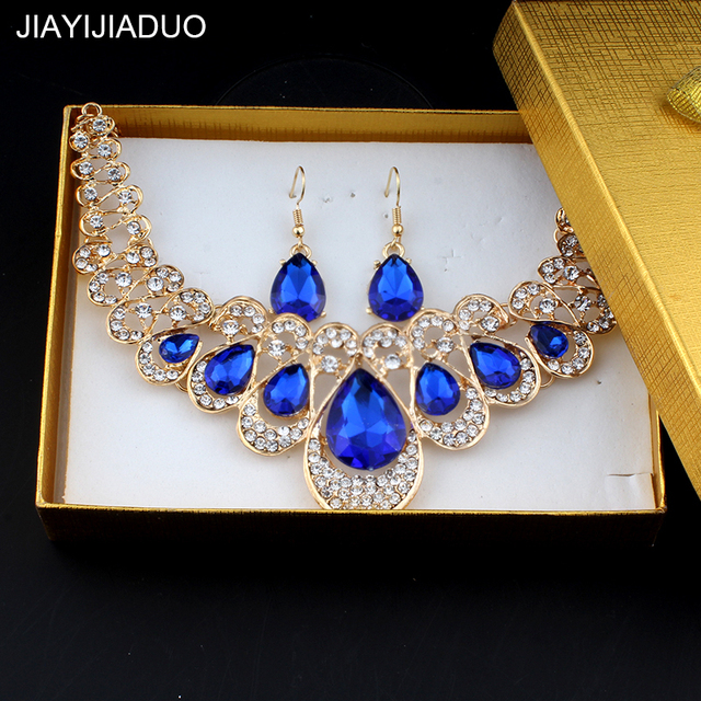 jiayijiaduo Wedding Jewelry Set for Women Bridal Jewelry Blue Necklace  Earrings Set Gift Delicate Box dropshipping 5a0f2992b2bd