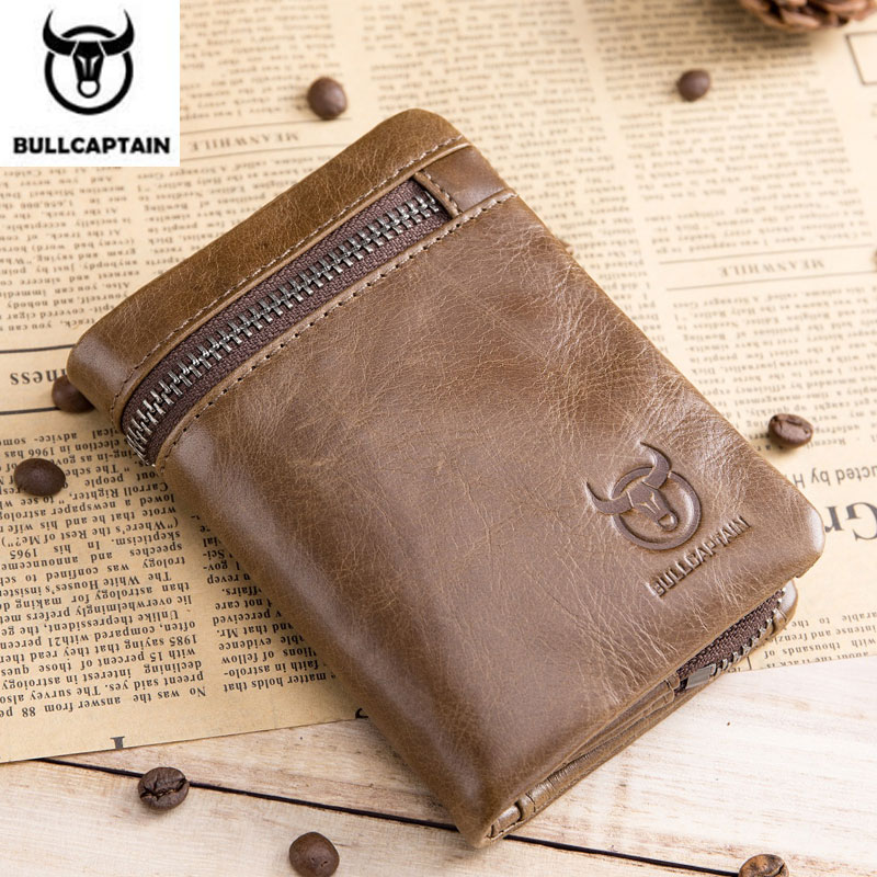цена BULLCAPTAIN 2018 CASUAL Short Trifold Hasp Zipper Wallet MEN Coffee Cow Leather Wallet Coin Pocket Money Purse Bag Card Holder