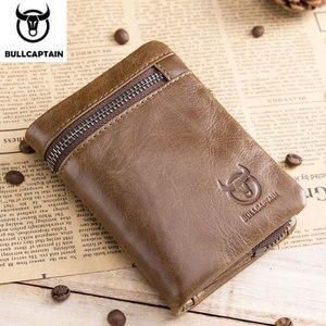 Image 1 - BULLCAPTAIN สั้น Tri พับซิปกระเป๋าสตางค์หนังวัวผู้ชายกระเป๋าสตางค์หนังเหรียญเหรียญเงินกระเป๋าธุรกิจ RFID ผู้ถือ