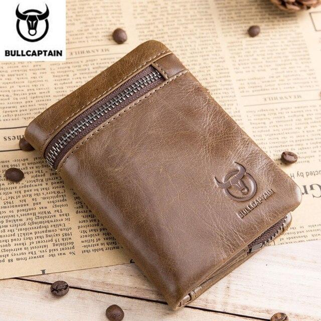 BULLCAPTAIN สั้น Tri พับซิปกระเป๋าสตางค์หนังวัวผู้ชายกระเป๋าสตางค์หนังเหรียญเหรียญเงินกระเป๋าธุรกิจ RFID ผู้ถือ