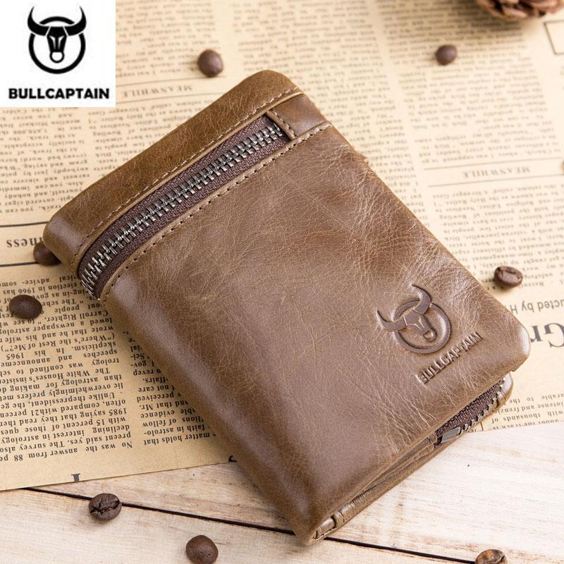 Кошелек BULLCAPTAIN, короткий, три сложения, с пряжкой, на молнии, мужской кошелек из коровьей кожи, кошелек для монет, сумка для денег, деловой держатель для карт, держатель RFID