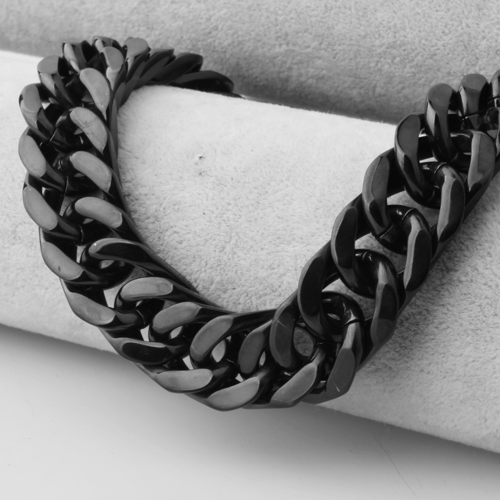 Heavy 17mm Wide Black Color Curb Link Chain Male Necklace Or Bracelet 8-40 Inches Option Jewelry Stainless Steel Curb Link Chain