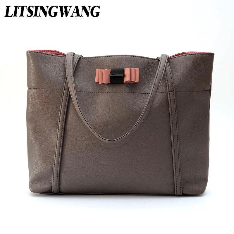 LITSINGWANG Women Shoulder Handbags Ladies Casual Totes Solid Simple Handbag Soft PU Leather Fashion Bow High Quality Bags