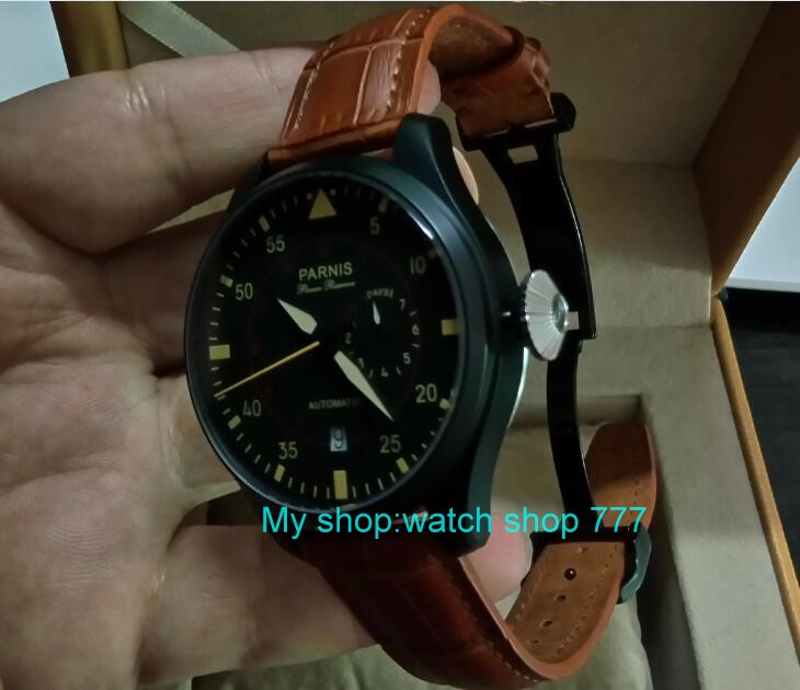 47mm PARNIS Automatic Self-Wind Mechanical movement men's watch Black dial PVD case power reserve Mechanical watches zd360a 43mm parnis power reserve automatic self wind mechanical movement men s watch black dial pvd case mechanical watches zdgd101a