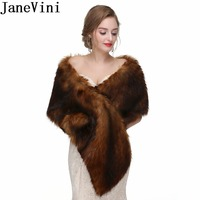 JaneVini High end Winter Bruids Bolero Ivory White Cape Faux Fur Wrap Wedding Cape Coat Fake Fox Fur Bridal Shawl Stoles Jacket