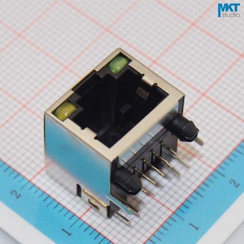 100 pcs Série 15.6mm 10P8C 56 Feminino RJ45 Ethernet PCB Terminal Modular Soquete do Conector Jack Com 2 Indicadores LED
