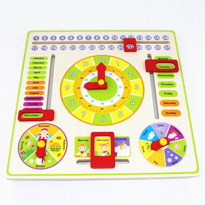 Calendar and Clock Wood Numbers Math Preschool Early Education 2