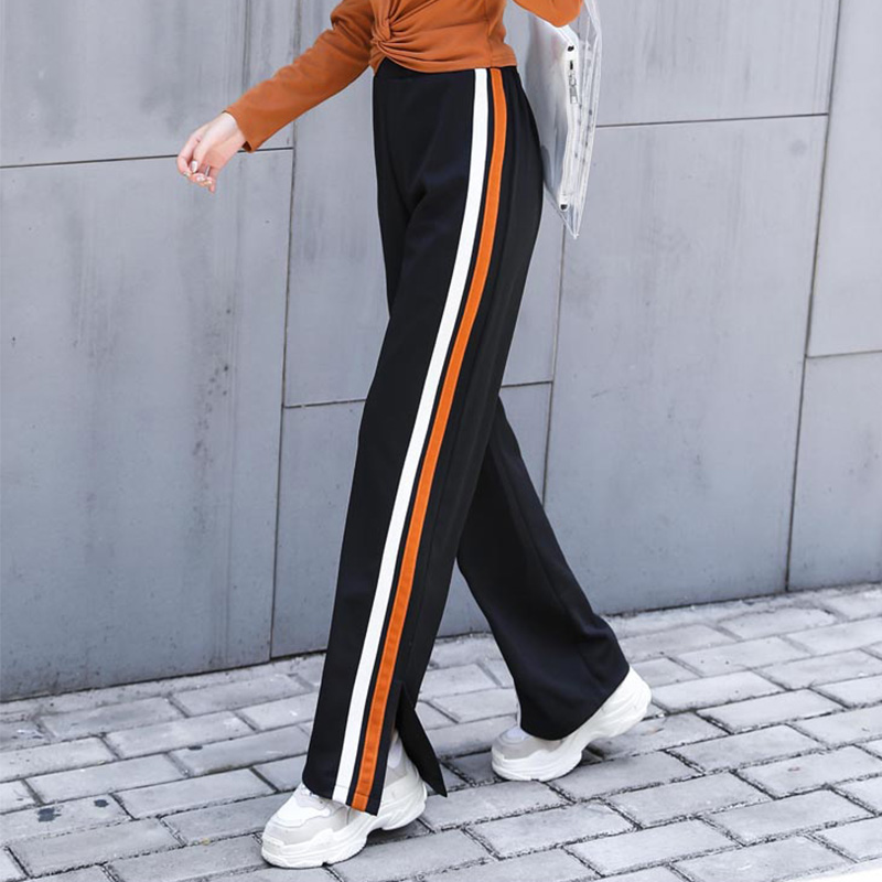 Wide     Leg   Side Striped   Pants   Women Fashion New Clothing High Waist Loose Trousers 2018 Female Elegant Cut Off Split Jogger   Pants