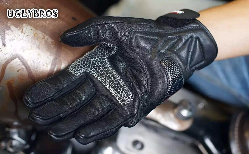 Free Shipping uglyBROS ubg516 black perforated leather gloves motorcycle gloves leather gloves Pair Seasons