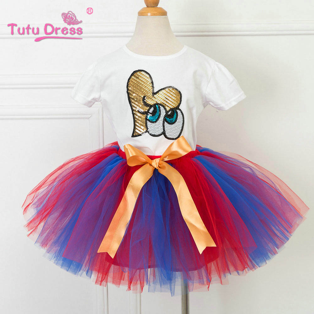 TUTUDRESS Retail Girls Clothing Set Flower Birthday Outfit Cotton T-shirt Summer Rainbow Color Skirt Baby Girls Suits Set green top shirt my 2nd st patrick day rainbow clover girls skirt outfit set 1 8y