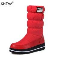 KHTAA 2017 נשים חורף שלג מגפי כותנה חמה למטה נעליים עמיד למים פלטפורמת אמצע עגל מגפיים שחור פרווה בתוספת גודל 34-44
