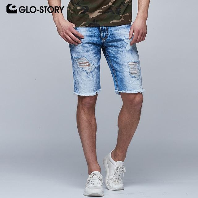 11658bce60 GLO-STORY Men's Broken Bottom Holes Distressed Ripped Denim Shorts Men 2018  Casual Streetwear Summer Knee Length Jeans MNK-6265