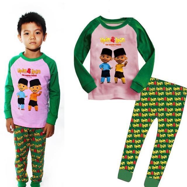 Spotgoedkope Kinderkleding.Maleisische Cartoon Jongens Nachtkleding Lange Mouwen Katoen Tops