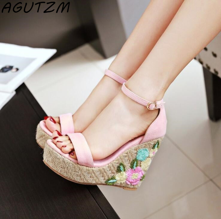 AGUTZM 2018 Plus Size Women Sandals Platform Women Shoes Wedges Sandals Open Toe Summer platform Flowers Sandals nemaone new 2017 women sandals summer style shoes woman platform sandals women casual open toe wedges sandals women shoes