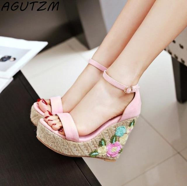 7a81291a4f2 AGUTZM 2018 Plus Size Women Sandals Platform Women Shoes Wedges Sandals  Open Toe Summer platform Flowers Sandals