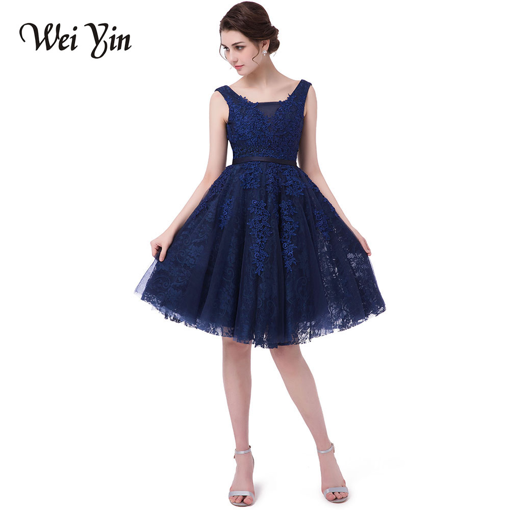 weiyin robe de soiree evening dress blue short design the