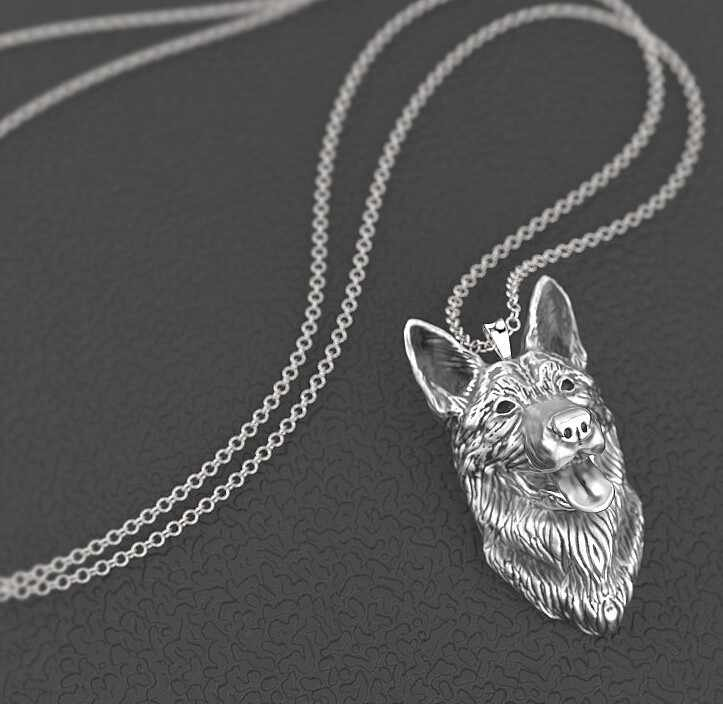 German shepherd necklace dog pendant Animal series jewelry for pet lovers