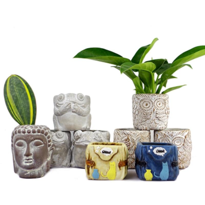 크리 에이 티브 동물 장식 시멘트 화분 실리콘 금형 수제 공예 홈 인테리어 기하학 콘크리트 금형-에서점토 몰드부터 홈 & 가든 의  그룹 1