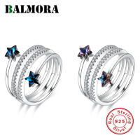 BALMORA 100% 925 Sterling Silver Star Crystal Open Finger Rings for Women Wedding Engagement Jewelry Girlfriend Gift SVR399
