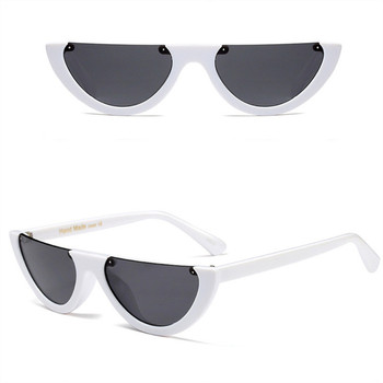 Unique Half Frame Women Cat Eye Sunglasses Brand Designer Fashion Ladies Pink Tint/Clear Lens Shades Sun Glasses
