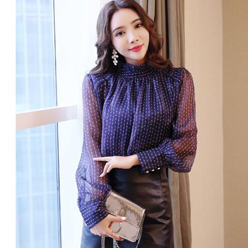 2019 Spring Polka Dot Blouse Women Long Sleeved Shirt Female Fashion Loose Office Lady Clothing