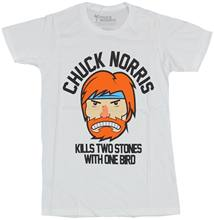Chuck Norris Mens T-Shirt - Cartoon Face Kills Two Stones With One Bird Cool Casual pride t shirt men Unisex Fashion tshirt(China)