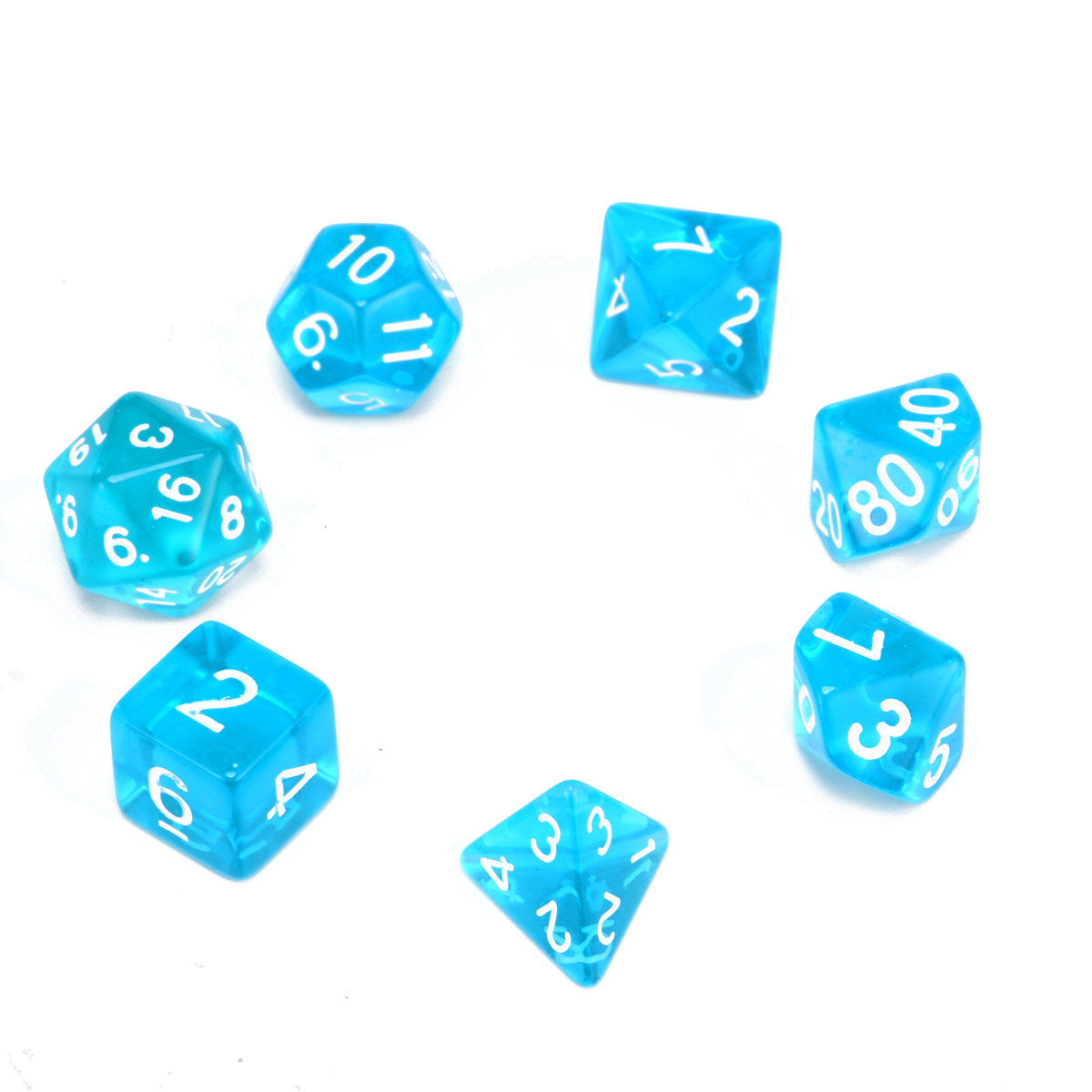 7pc Translucent Polyhedral Dices Blue Set For RPG Dungeons and Dragons With  Dice Bag Family School 074469a6f67b