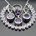 Mulheres Conjuntos de Jóias de Cor Prata Criado Amethyst Roxo Colar Pingente Pulseiras Brincos Anéis de Natal Caixa de Presente Livre