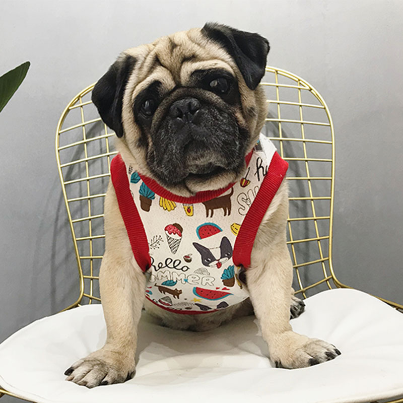 2018 Dog Clothes for Small Dogs Summer French Bulldog Vest Pet T Shirt Puppy Fruits Cartoon Printing Vest for Pug Dog Costume L