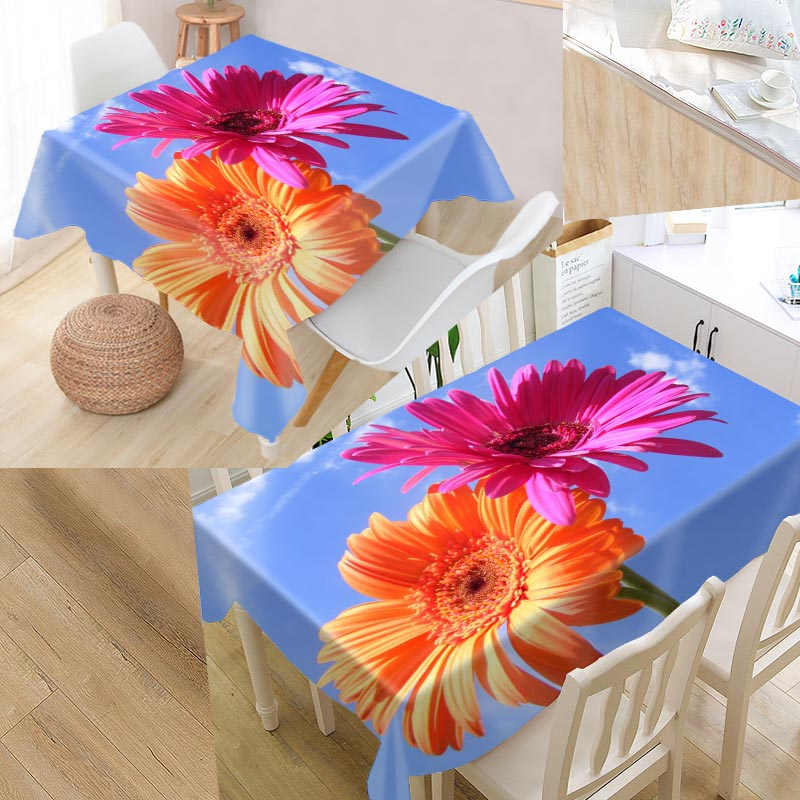 <font><b>Gerbera</b></font> <font><b>Daisies</b></font> Custom Table Cloth Oxford <font><b>Fabric</b></font> Rectangular Waterproof Oilproof Table Cover Family Party Tablecloth image