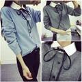 2016 new spring coat Korean simple Linen Shirt sanding thickening female sweet bowknot shirt