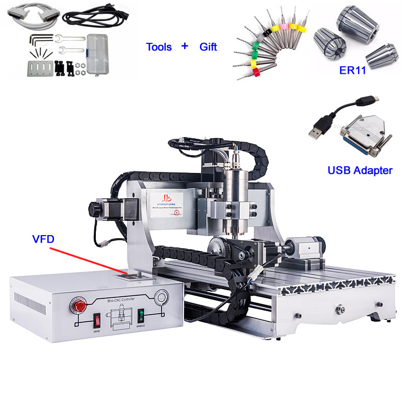 2200W 4 axes Mini CNC routeur graveur 3040 2.2KW VFD CNC métal fraisage Machine de découpe