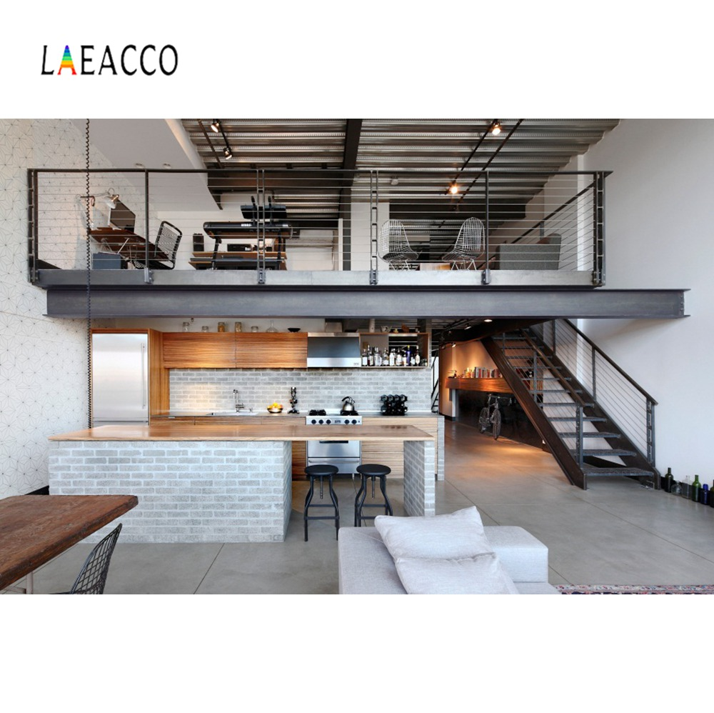 Laeacco Modern Loft House Kitchen Living Room Interior Scene Photography Backgrounds Photographic Backdrops For Photo Studio interior design