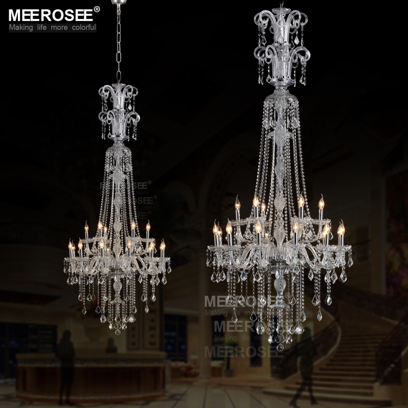 Contemporary clear crystal chandelier 18lights galaxy long cristal contemporary clear crystal chandelier 18lights galaxy long cristal suspension lamp glass lighting fixture 100 guaranteed lustre in chandeliers from lights aloadofball Images