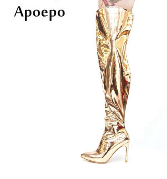 цена на Apoepo Fashion Metallic Leather High Heel Boots 2018 Pointed Toe Over the Knee Woman Boots Punk Style Sexy Thigh High Boots
