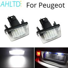 цена на 2Pcs LED License Plate Light For PEUGEOT 18SMD No Error Free Light Bulb 206 207 306 307 406 407 for CITROEN C3 C4 C5 6500K 12V