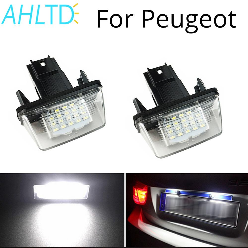 2Pcs <font><b>LED</b></font> License Plate Light For <font><b>PEUGEOT</b></font> 18SMD No Error Free Light Bulb 206 207 306 307 406 <font><b>407</b></font> for CITROEN C3 C4 C5 6500K 12V image