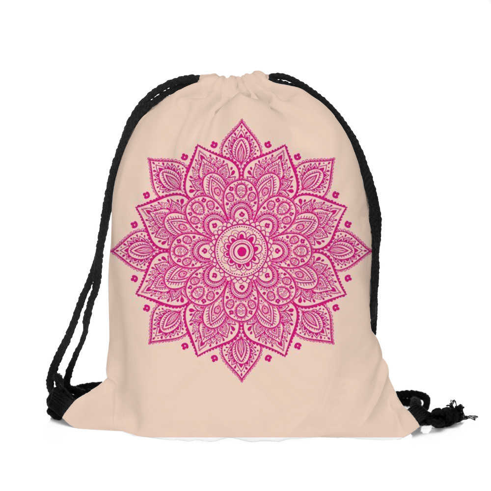 ... Fashion Drawstring bag Unisex Backpacks Mandala 3D Printing School bags  Drawstring Backpack Mochila Feminina Masculina ...