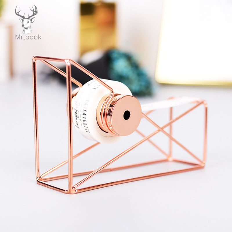 Nordic Style Rose Gold Tape Cutter Metal Tape Holder Washi Storage Organizer Stationery Office Supplies Creative Decorative