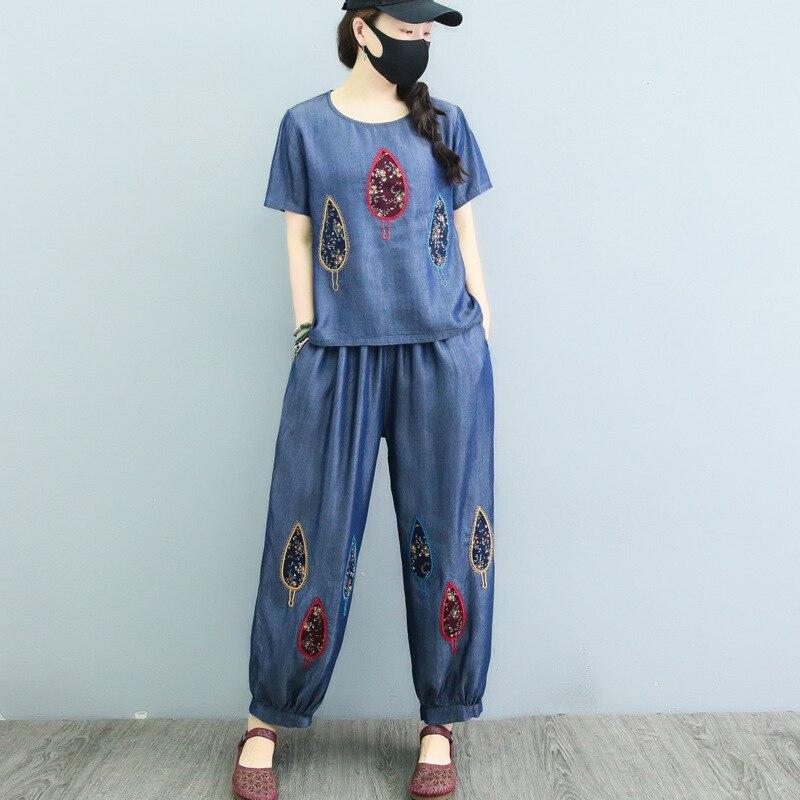 Nouveau patch de broderie d'été pour femme T-shirt à manches courtes tencel denim + pantalon taille élastique