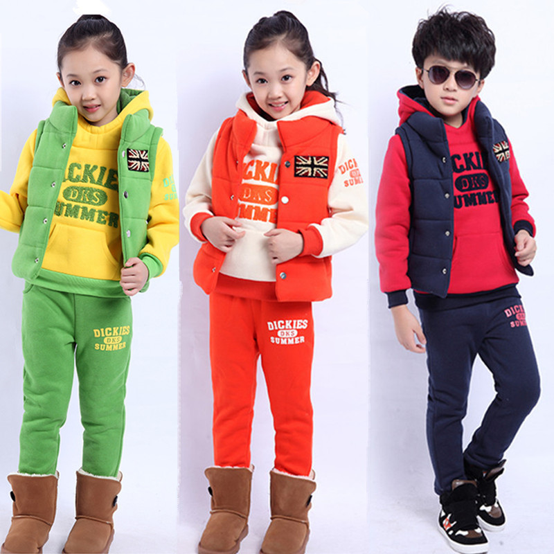 2019 Spring New Children Thick Cotton Padded Kids Sport Clothes Three Sets Girls Boys Clothing Set
