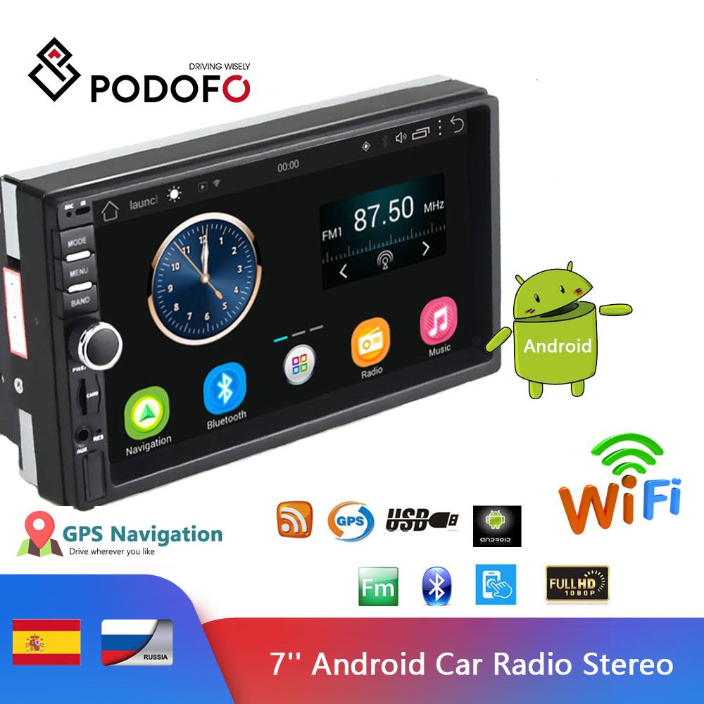 Podofo 7 Android Car Radio Stereo GPS Navigation Bluetooth USB SD 2 Din Touch Car Multimedia