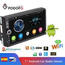 """Podofo """" Android автомобильный Радио Стерео gps навигация Bluetooth USB SD 2 Din сенсорный автомобильный мультимедийный плеер аудио плеер авторадио"""