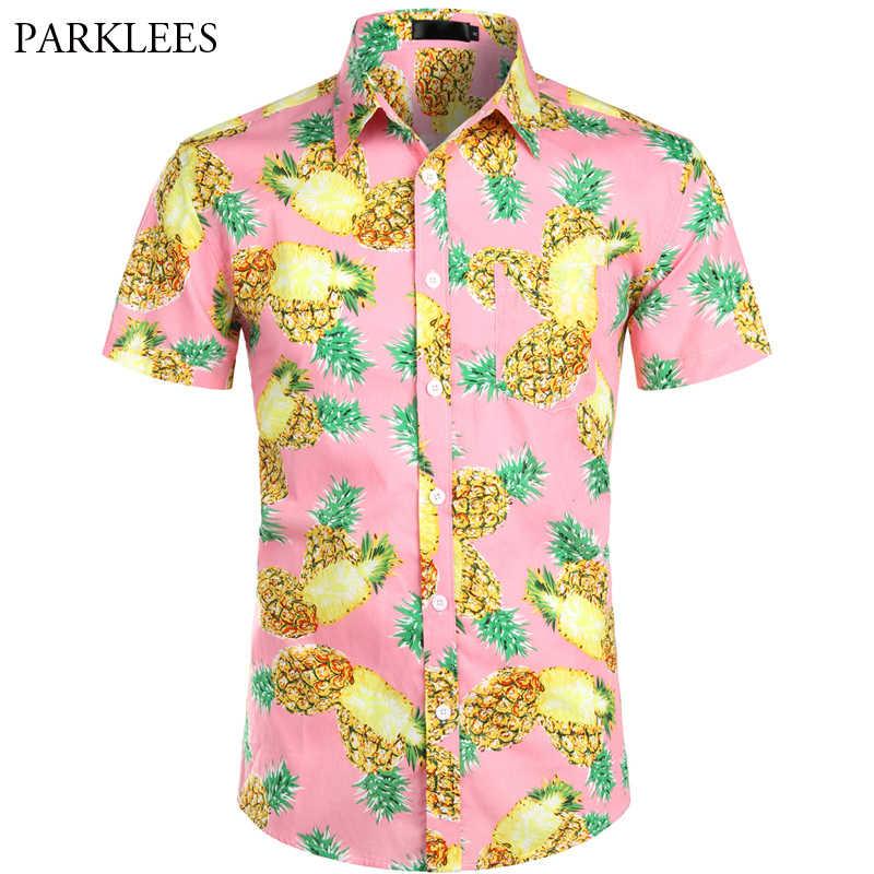 ピンクハワイシャツ男性 2019 夏半袖メンズドレスシャツパイナップルプリントビーチハワイシャツシュミーズオムカミーサ hombre