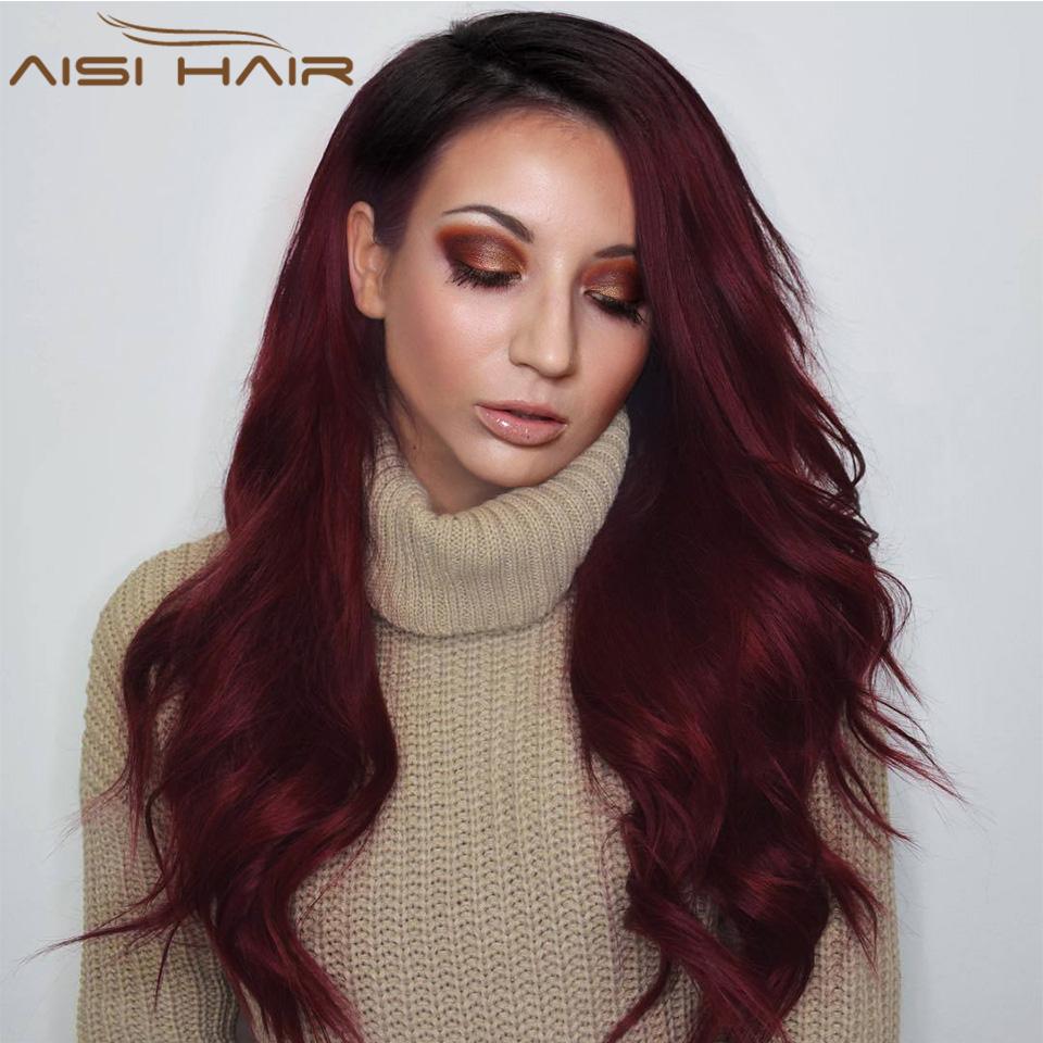 I's a wig 24 inch Ombre Dark Red Long Wavy Wig Perucas front lace Hair Synthetic Lace Wigs for Black Women Wave wig(China)