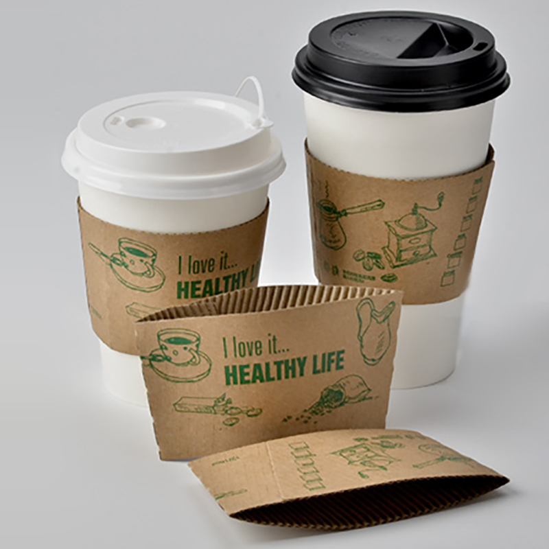 Disposable Takeout Coffee Cup Kraft Paper Cartoon Coffee Sleeve Heat Insulation Hot Drink Mug Takeaway Wrapper Christmas Cup Set Кубок